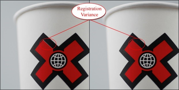 white showing between the red and black on the cup on the left