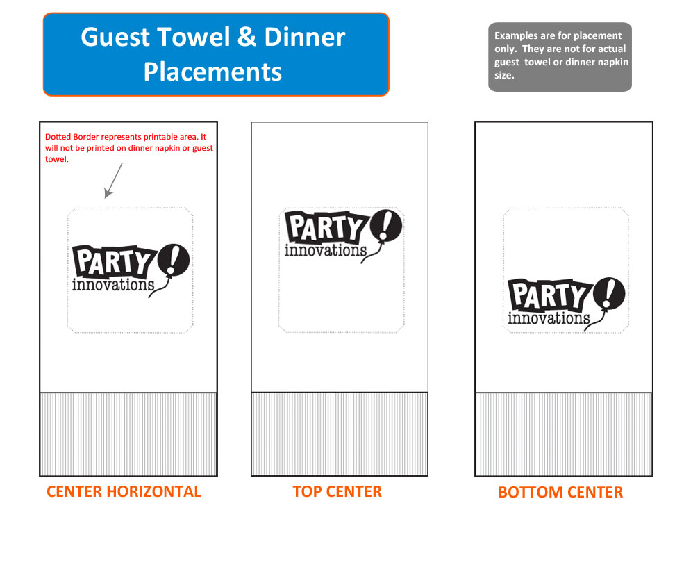 Guest Towel and Dinner Napkins Placement - Custom Logo Option width=