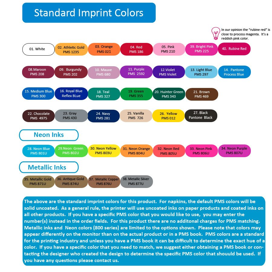 Imprint Colors for Printed Items