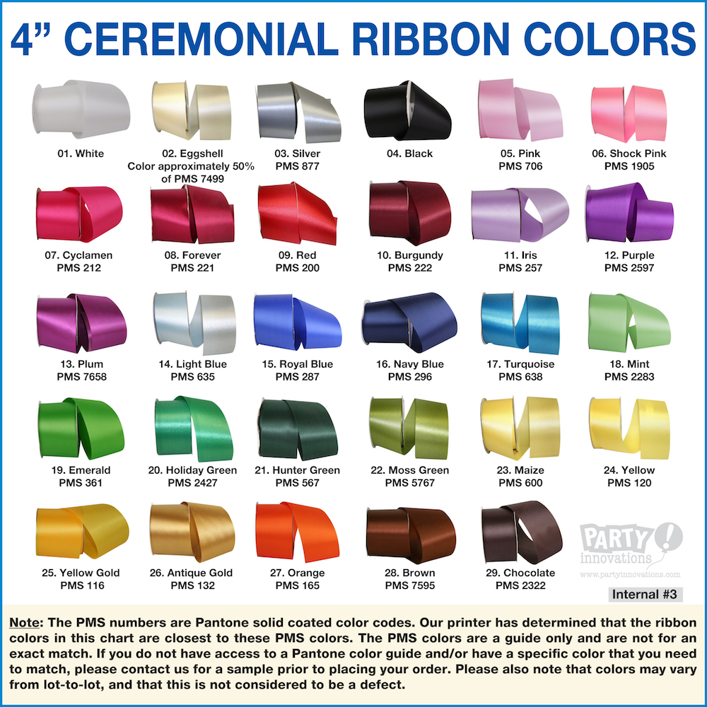4 inch Acetate Ceremonial Ribbon Color Reference Sheet