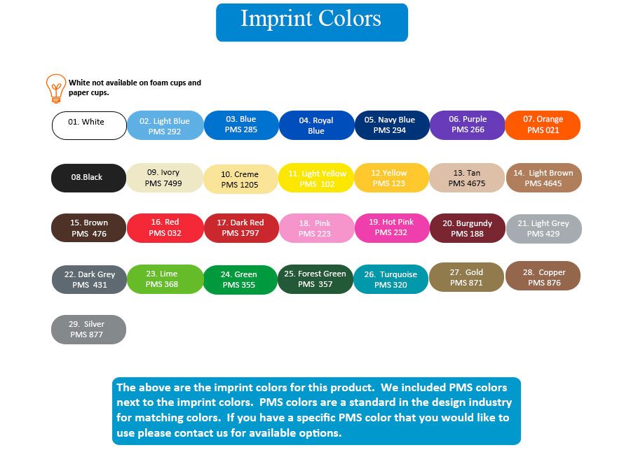 Imprint Colors for Social Occasion Cups