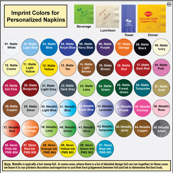 Personalized Napkins Imprint Colors, Online Preview Color Reference Sheet