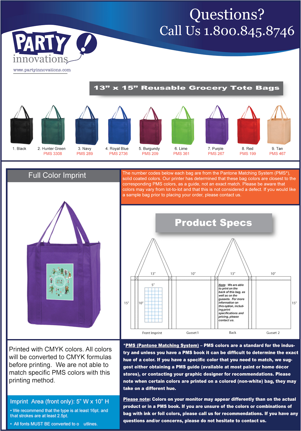 Full Color Grocery Tote Reference Sheet