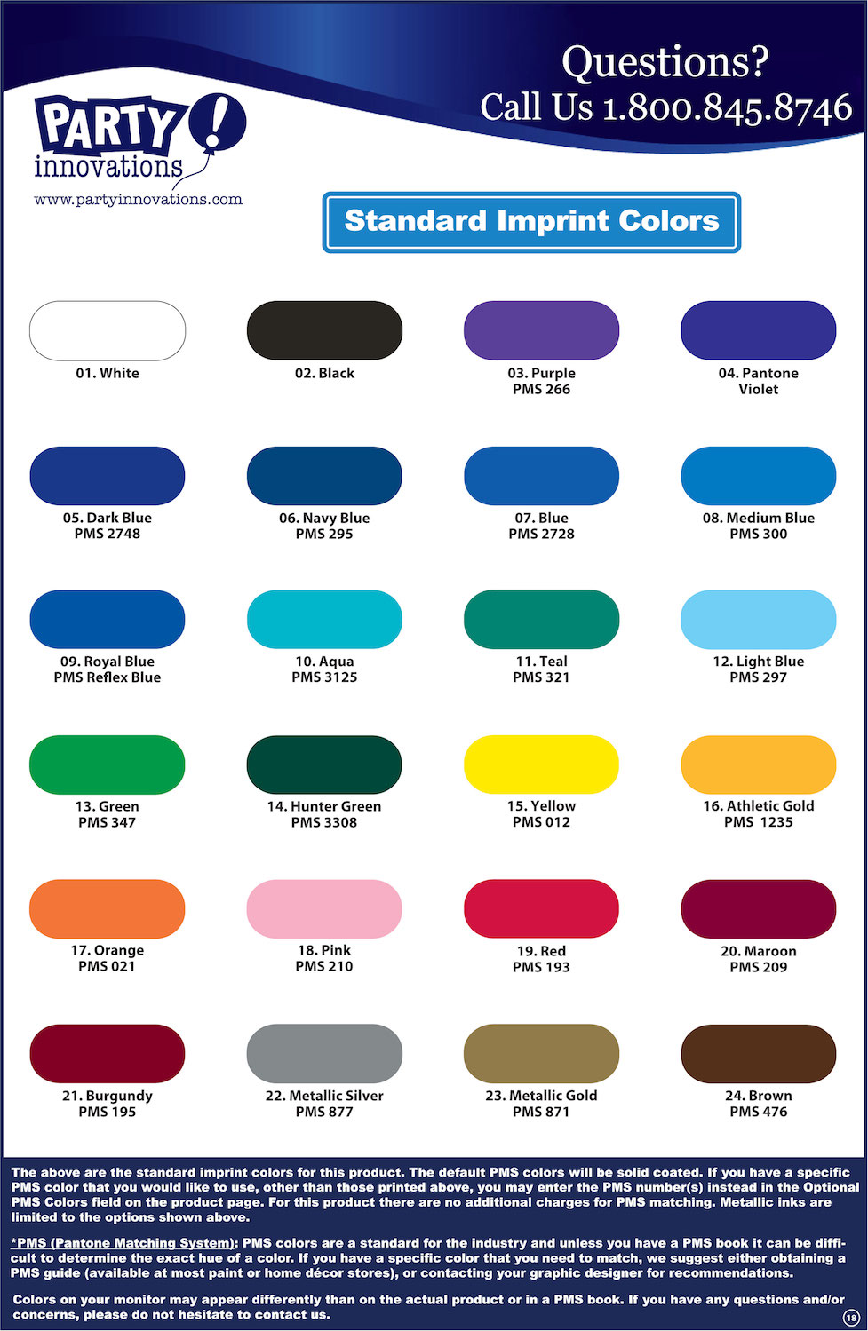 Water Bottle Imprint Colors Reference Sheet
