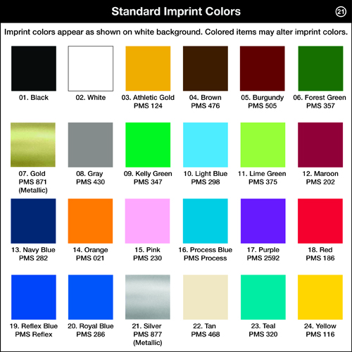 Standard Imprint Colors for 2-Tone Coasters, 1-Color Ink Reference Sheet